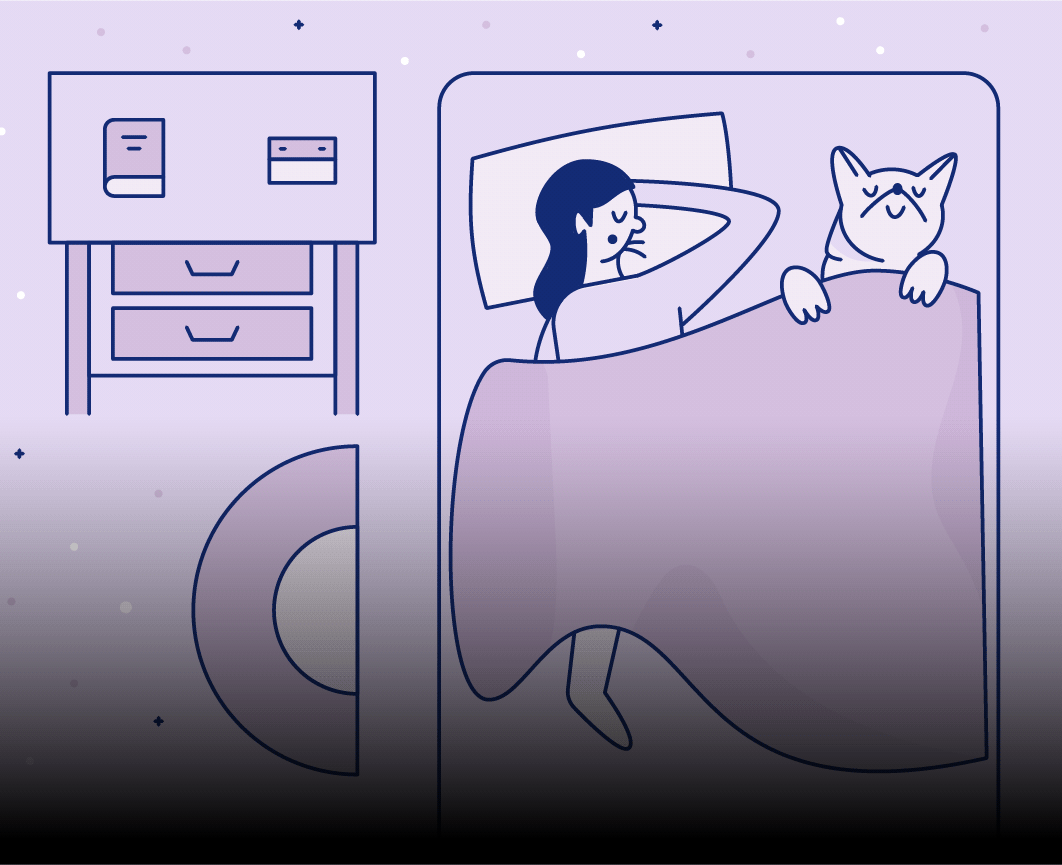 Illustration of woman sleeping in bed with dog tucked under covers