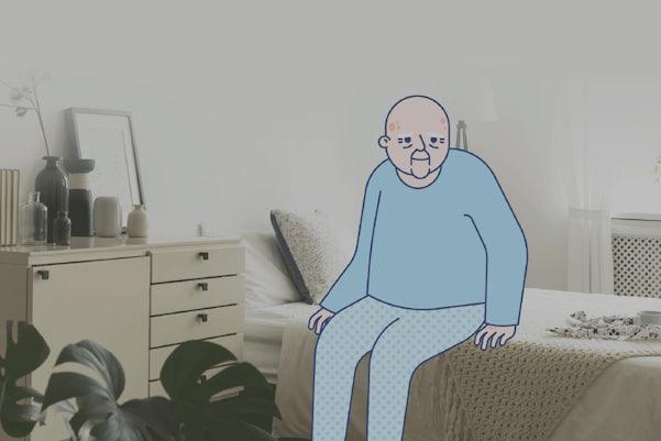 Illustration of older man sitting in bed