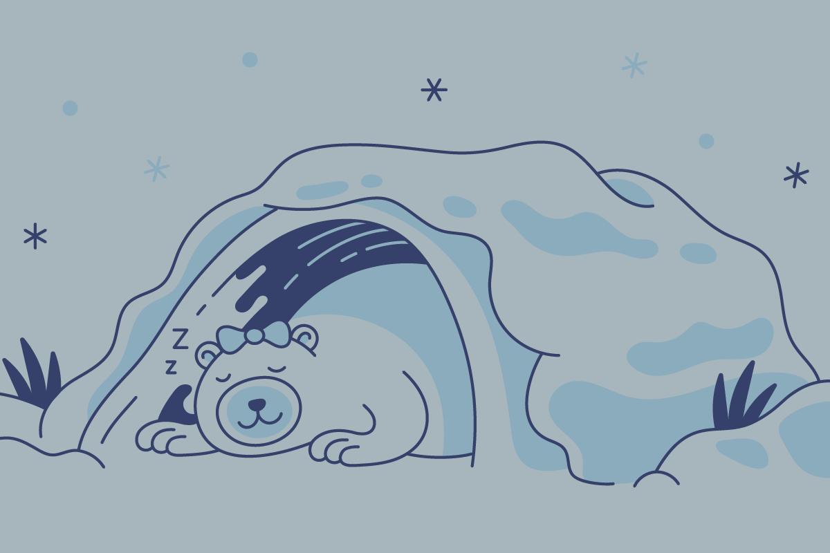 Illustration of polar bear sleeping in an igloo