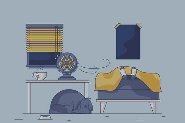 Illustration of person sleeping in room with fan