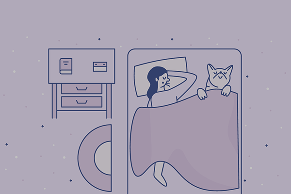 Illustration of person asleep in bed with dog happily tucked under the covers