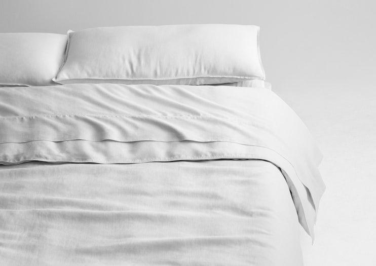 Airy Linen Sheet Set Duvet Cover White