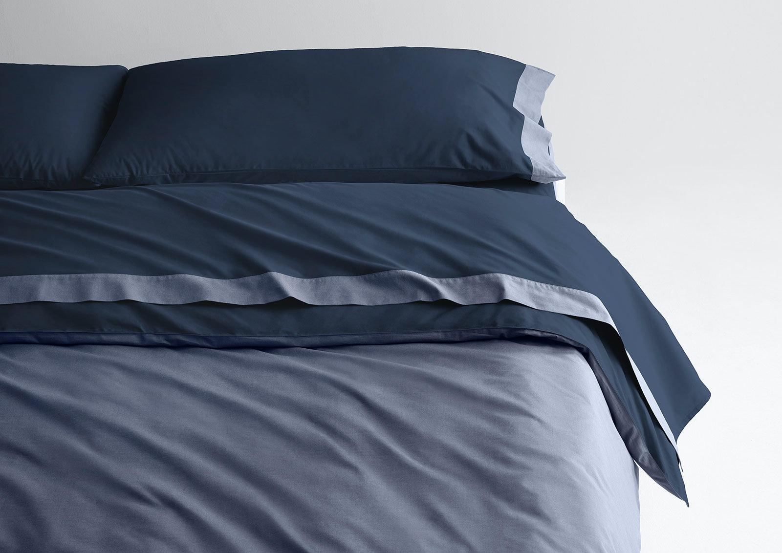 Supima® Doux ensemble de draps + house de couette, Marine / Horizon