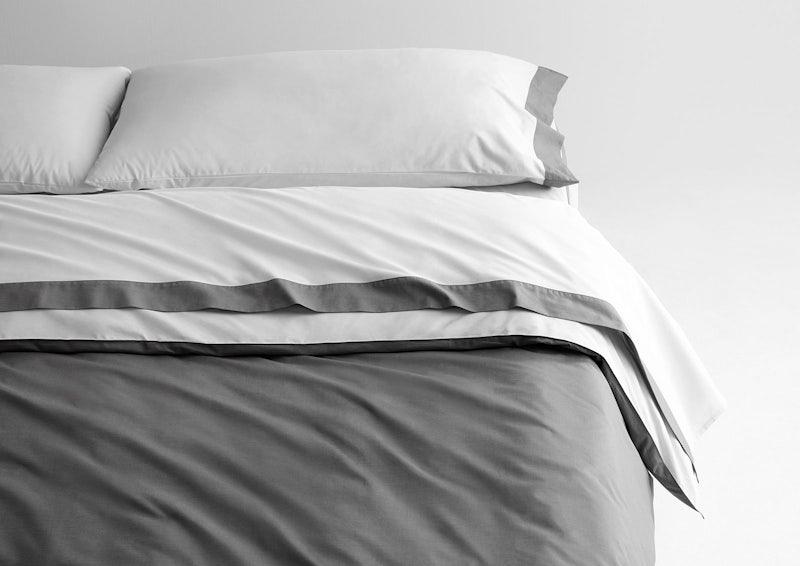 Supima® Doux ensemble de draps + house de couette, Blanc / Ardoise