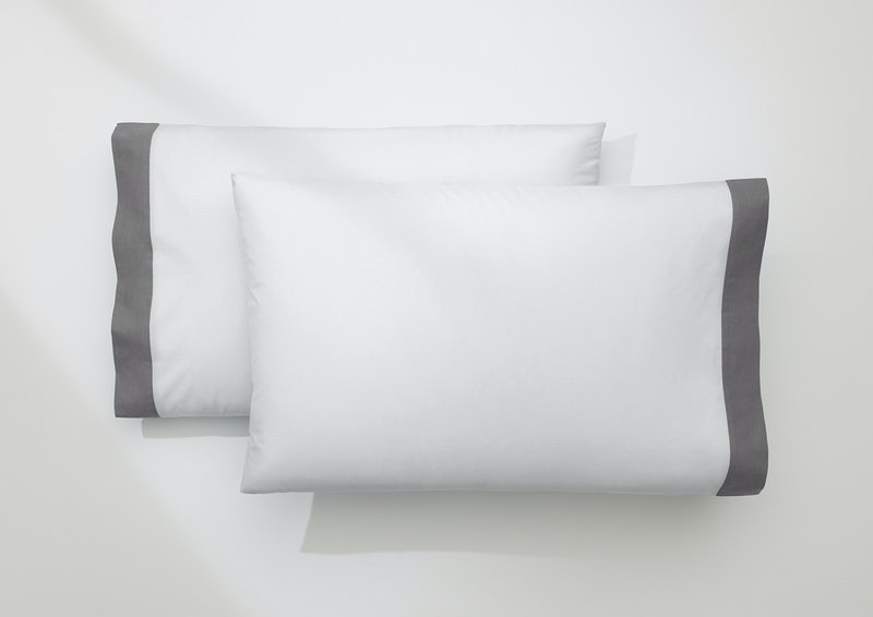 Cool Supima® Pillowcase Set, White / Slate
