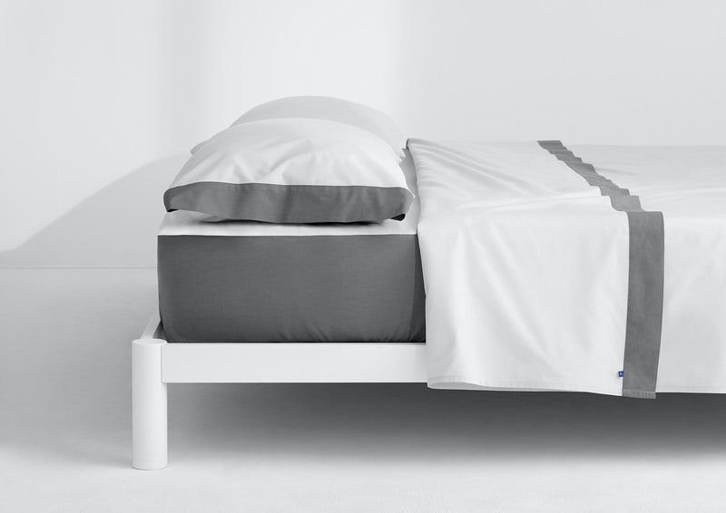 Supima® Doux ensemble de draps, Blanc / Ardoise