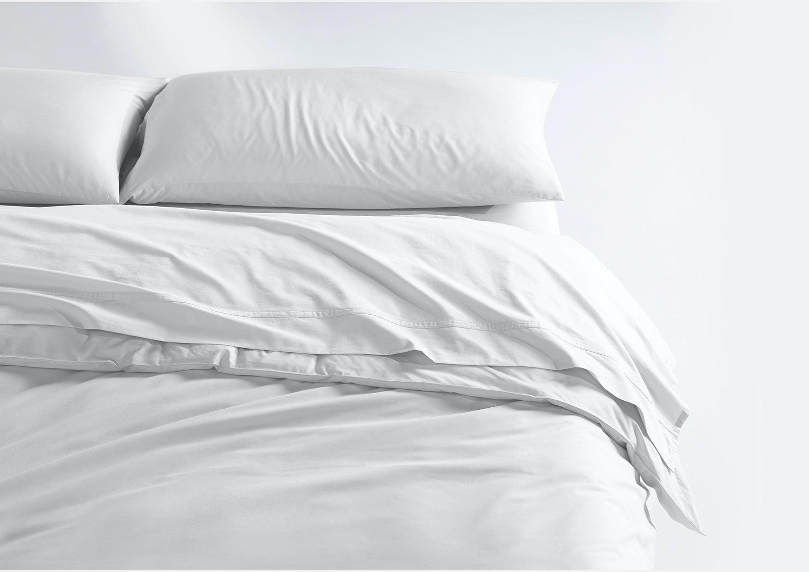 Coton léger ensemble de draps + housse de couette, Blanc