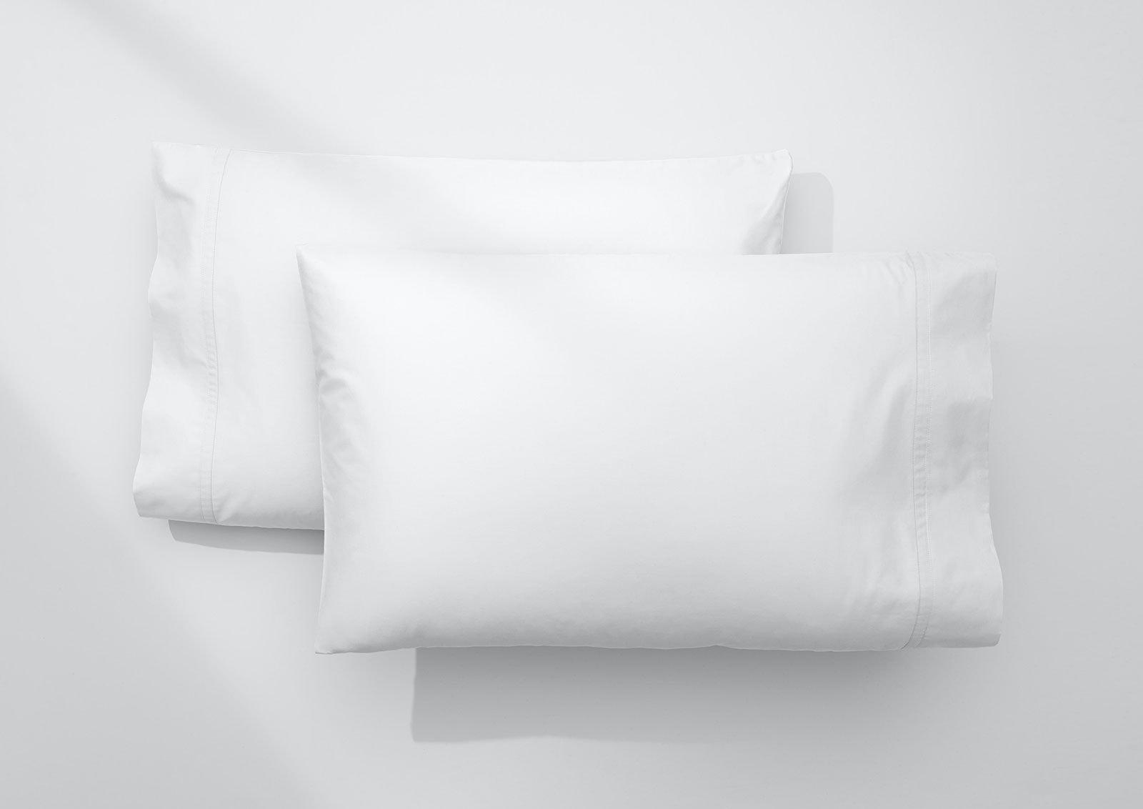 Coton léger ensemble de taies, Blanc