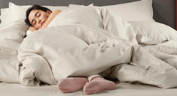 Lightweight Down Duvet on top pf mattress