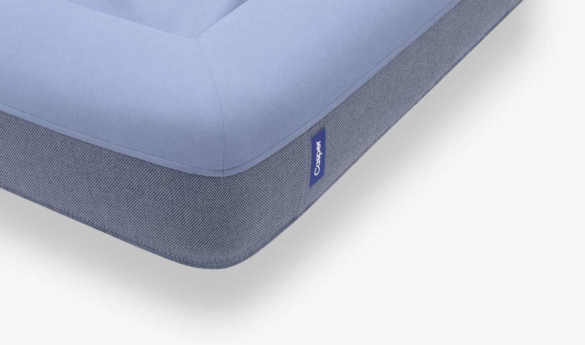 Corner detail of the blue Casper Dog Bed