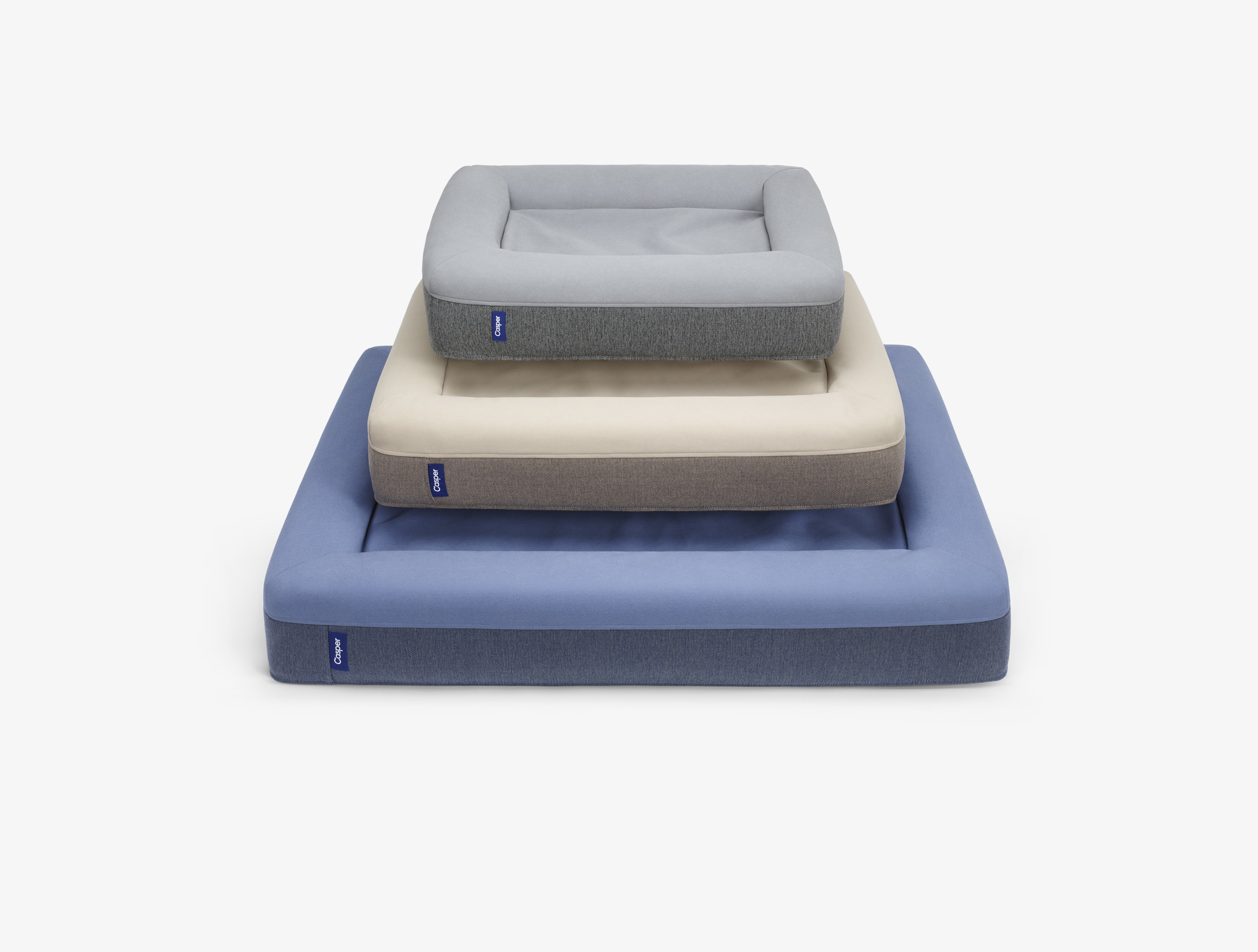 Three Sizes Of The Casper Dog Bed Stacked On Top Of Each Other ...