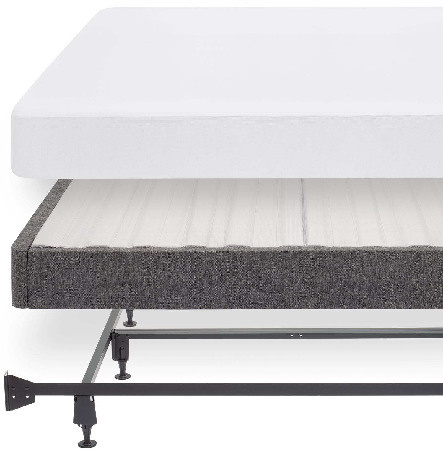 The Casper mattress protector, foundation, and metal bed frame